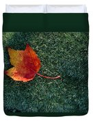 A Maple Leaf Lies On Emerald Moss Duvet Cover