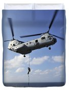 A Marine Fast Ropes From A Ch-46e Sea Duvet Cover