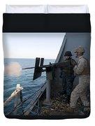 A Marine Fires A .50-caliber Machine Duvet Cover