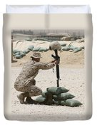 A Marine Hangs Dog Tags On The Rifle Duvet Cover