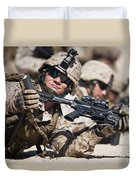 A Marine Shows His Cleared Weapon Duvet Cover