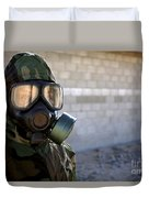 A Marine Wearing A Gas Mask Duvet Cover