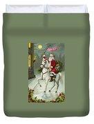 A Merry Christmas Card Of Santa Riding A White Horse Duvet Cover
