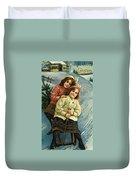A Merry Christmas Postcard With Sledding Girls Duvet Cover