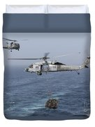 A Mh-60s Knighthawk Transfers Cargo Duvet Cover
