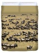 A Migrating Herd Of Wildebeests Duvet Cover