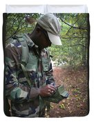 A Military Technician Uses A Pda Duvet Cover by Michael Wood