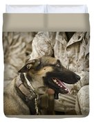 A Military Working Dog Sits At The Feet Duvet Cover by Stocktrek Images