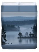 A Misty Forest Lake With A Small Island Duvet Cover