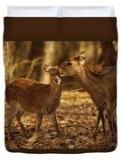 A Mother And Fawn Sika Deer Duvet Cover