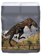 A Nano-tyrannosaurus Takes On Adam Duvet Cover