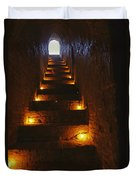 A Narrow Staircase Lit With Candles Duvet Cover