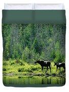 A Natural Salt Lick Lures Moose Duvet Cover
