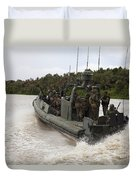 A Navy Riverine Patrol Boat Conducts Duvet Cover