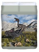A Pack Of Velociraptors Attack A Lone Duvet Cover