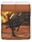 A Pair Of Allosaurus Dinosaurs Running Duvet Cover