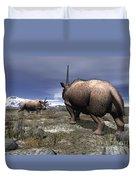 A Pair Of Male Elasmotherium Confront Duvet Cover