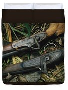 A Pair Of Old Flint-type Rifles Lying Duvet Cover