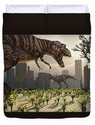 A Pair Of Tyrannosaurus Rex Explore Duvet Cover
