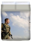 A Paratrooper Looks On As Other Duvet Cover