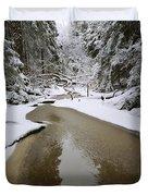 A Partially Frozen Stream Runs Duvet Cover