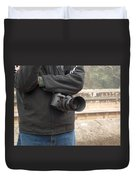 A Photographer With His Digital Camera On Location At A Historical Monument Duvet Cover