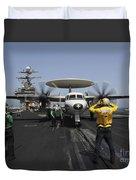 A Plane Director Guides An E-2c Hawkeye Duvet Cover