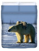 A Polar Bear Mother With Her Cub Duvet Cover