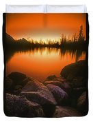 A Pond At Sunset, British Columbia Duvet Cover