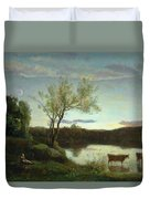 A Pond With Three Cows And A Crescent Moon Duvet Cover