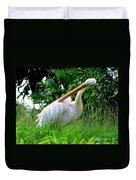 A Preening Stork Duvet Cover