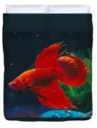 A Red Siamese Fighting Fish In An Duvet Cover