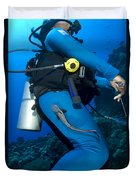 A Remora Attached To A Diver, Kimbe Duvet Cover
