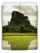 A Rice Field In Asia Duvet Cover by Nathan Lau