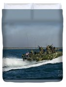 A Riverine Command Boat During Exercise Duvet Cover