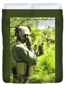 A Riverine Soldier Radios In Mock Duvet Cover