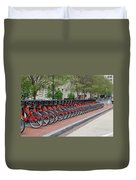 A Row Of Red Bikes Duvet Cover