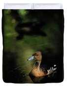 A Ruddy Duck Swims Through The Marsh Duvet Cover