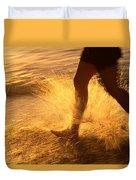 A Runner Splashing Through The Surf Duvet Cover
