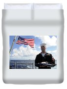 A Sailor Carries The National Ensign Duvet Cover
