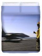 A Sailor Ensures An Fa-18c Hornet Duvet Cover by Stocktrek Images