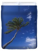 A Scenic View Of A Palm Tree Duvet Cover