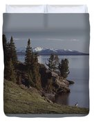 A Scenic View Of Yellowstone Lake Duvet Cover