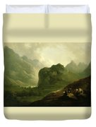 A Sketching Party In The Pass At Borrowdale Duvet Cover