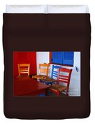 Colorful Table And Chairs Greece Duvet Cover