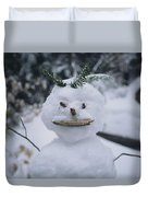 A Smiling Snowman With Twig Arms Duvet Cover