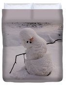 A Snowman Sitting In The Snow Duvet Cover