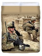 A Soldier Calls In Description Duvet Cover