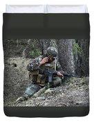 A Soldier Communicates His Position Duvet Cover