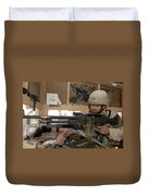 A Soldier Conducts An Observation Duvet Cover